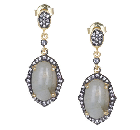 Oval Labradorite and CZ Drop Post Earring
