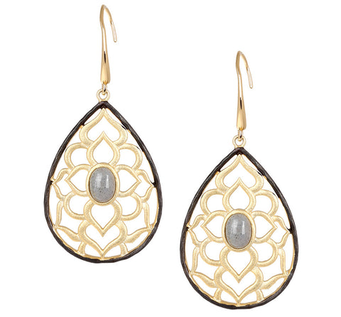 Filigree Teardrop with Labradorite Drop Earring