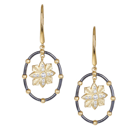 Floating Flower and CZ Open Oval Drop Earring