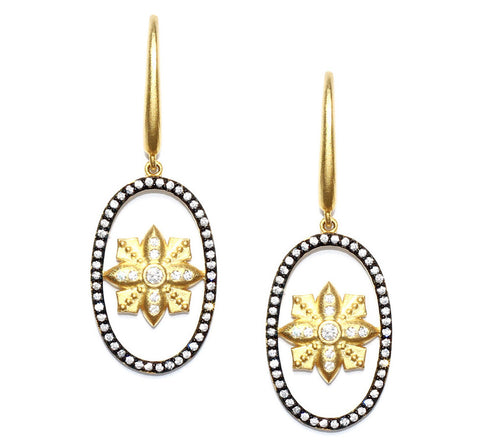 Open Oval Floating Flower and CZ Drop Earring