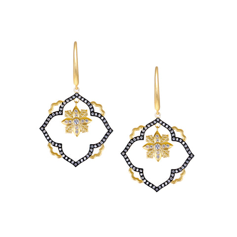 Fancy Open Floating Flower CZ Drop Earring
