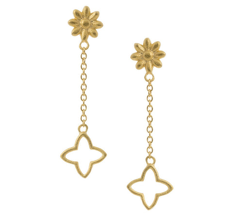 Flower and Star Chain Drop Earring
