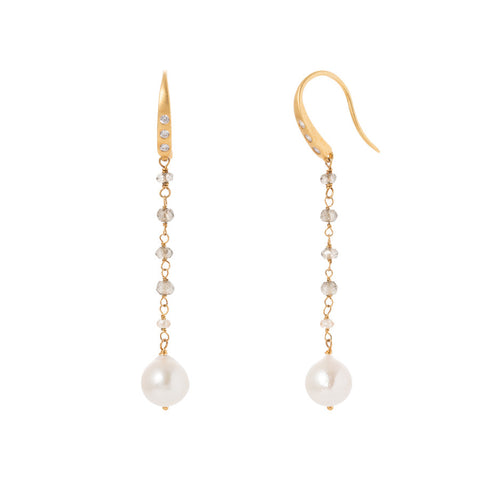 Misty Quartz / Akoya Pearl Earrings