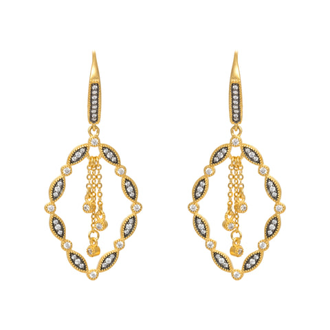 Open Abstract Chain Accent Drop Earring. Opulance with Refined Detail