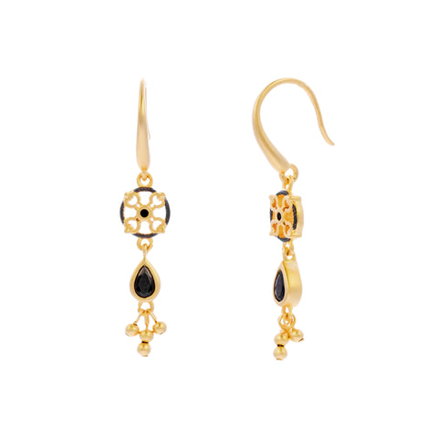 Black CZ Petite Beaded Drop Earring