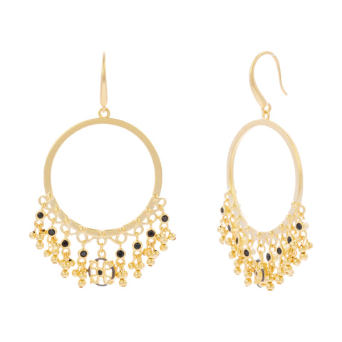 Black CZ Beaded Drop Open Earring