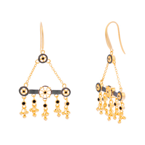 Black Cubic Zirconia Beaded Filigree Bar Drop Earring
