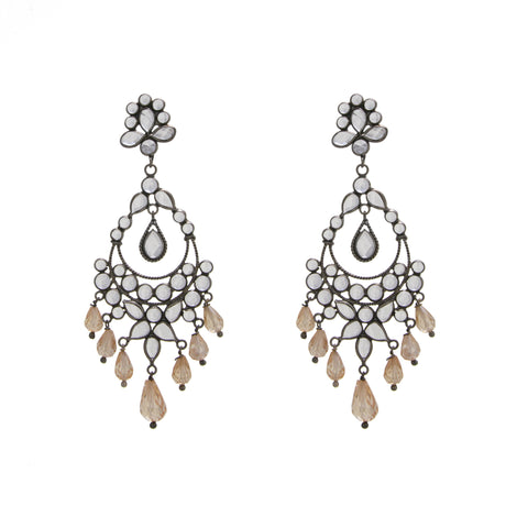 White Crystal / Brown Glass Chandelier Drop Earring