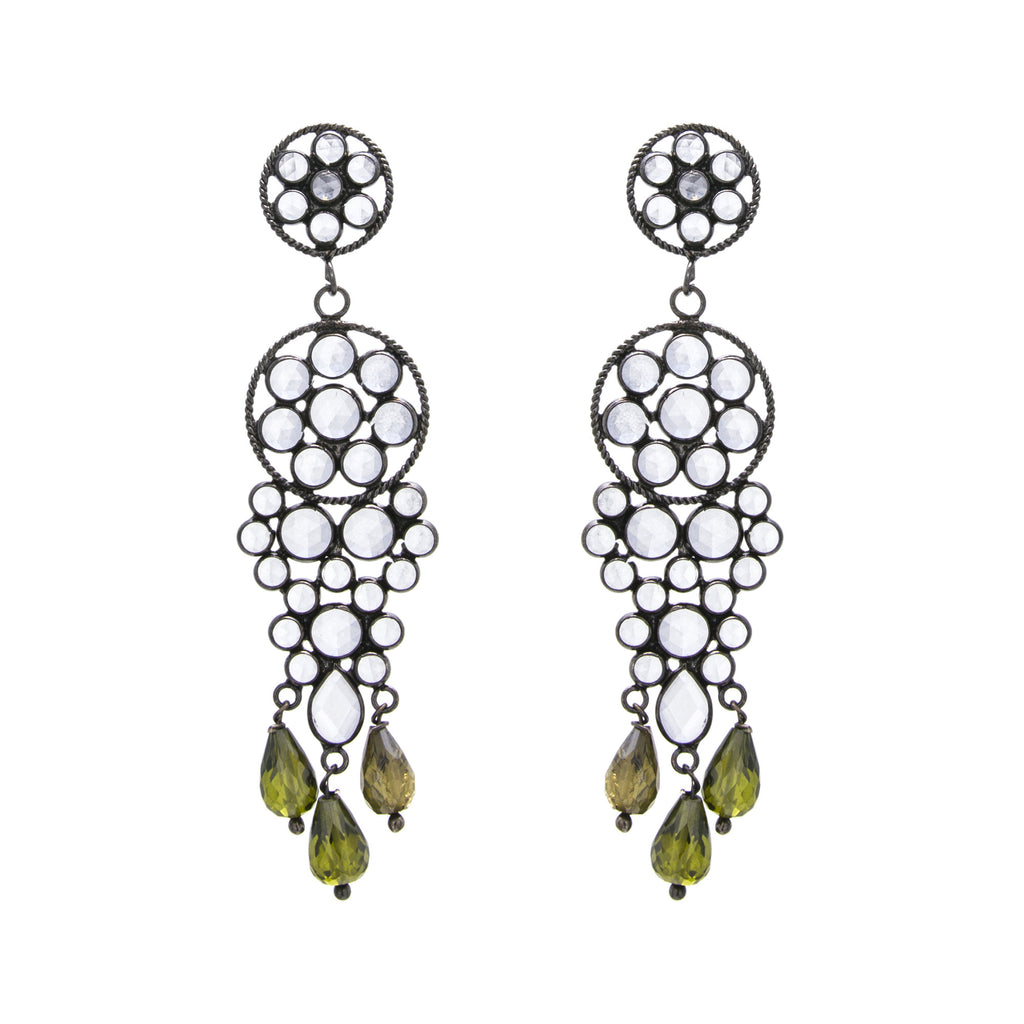 White Crystal Green Glass Chandelier Earring