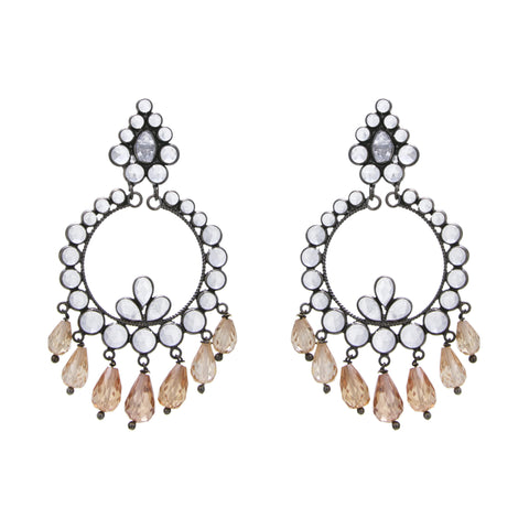 White Crystal / Brown Glass Chandelier Earring