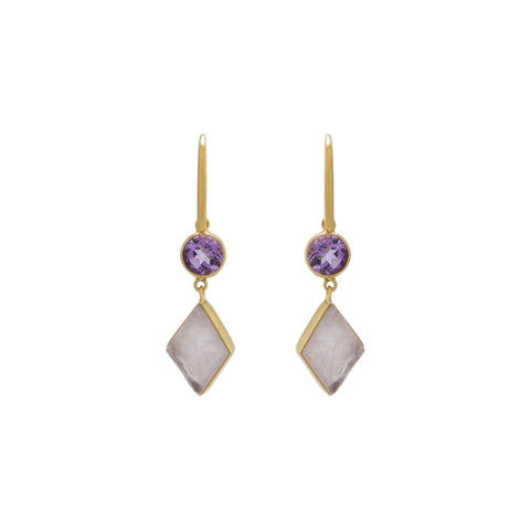 Amethyst / Rose Quartz Drop Earring