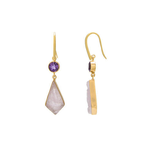 Amethyst / Rose Quartz Round Drop Earring