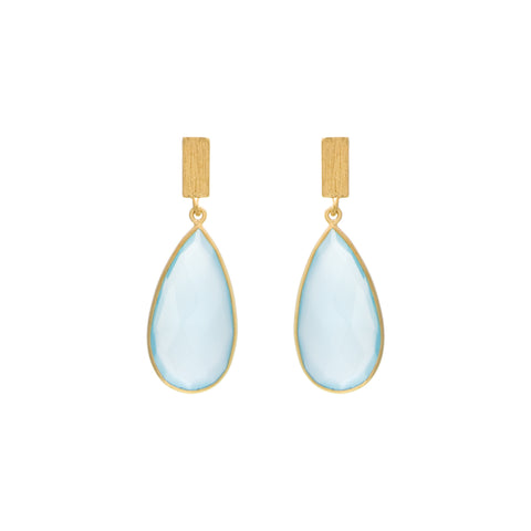 Aqua Chalcedony Matte Faceted Drop Earring