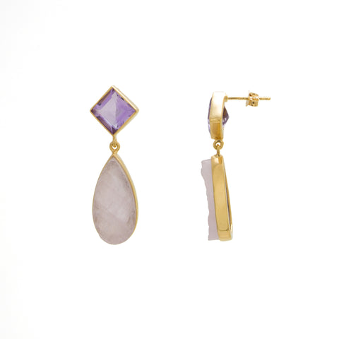 Amethyst / Rose Quartz Square Drop Earring