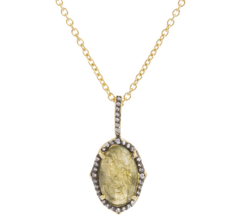 Oval Labradorite CZ Drop Necklace
