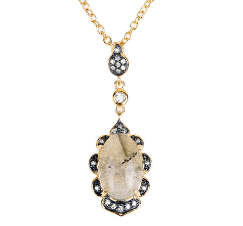 Fancy Oval Labradorite CZ Necklace
