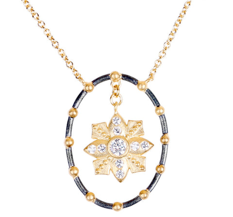 Floating Flower and CZ Open Oval Necklace