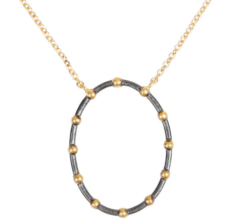 Open Oval Beaded Necklace