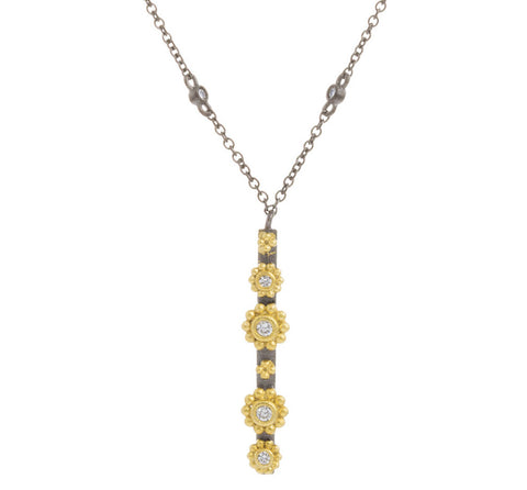 CZ Round Flower Bar Necklace