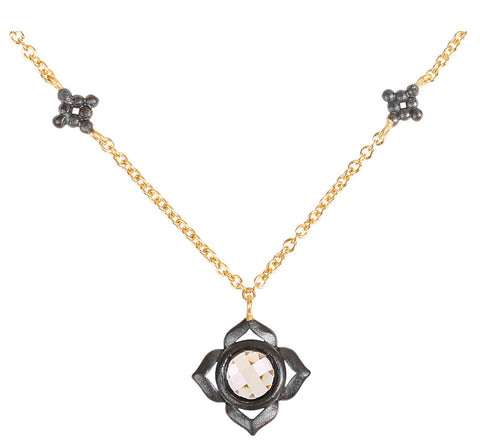 Faceted CZ Flower Necklace