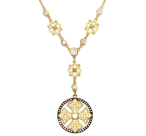 Round Fancy Cross CZ Necklace