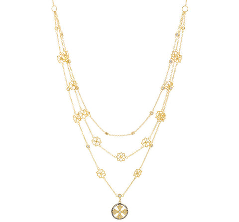 CZ Cross Triple Strand Layered Necklace