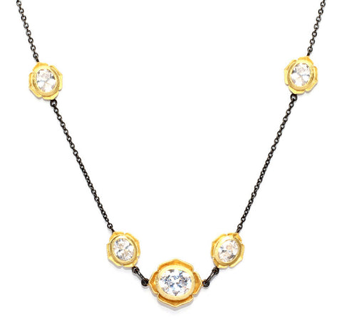 Multifaceted CZ Flower Necklace