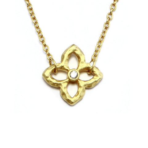 CZ Textured Flower Necklace