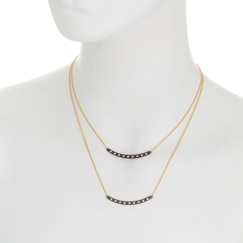 Modern Bezel Double Curved Bar Necklace. A Luxe Layered Look that Commands Attention.