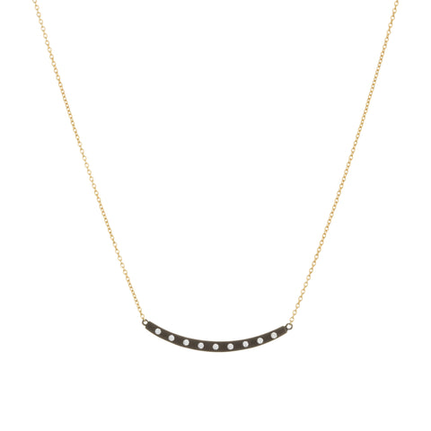 Modern Bezel Curved Bar Necklace. Add a Little Glam to your Everyday Look.