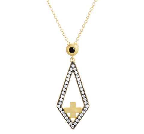 CZ Abstract Cross Necklace