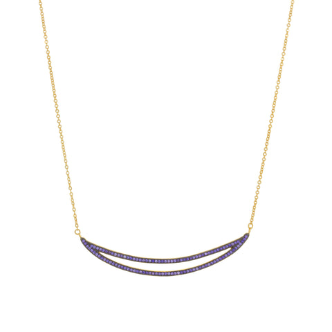 Purple CZ Double Curved Bar Necklace
