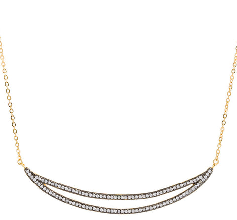 CZ Double Curved Bar Necklace