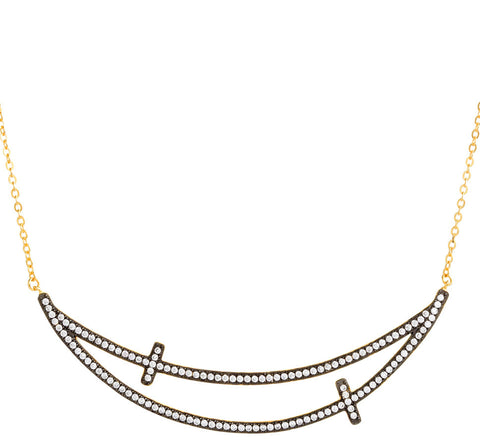 CZ Double Cross Curved Bar Necklace