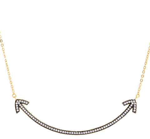 CZ Double Arrow Curved Bar Necklace