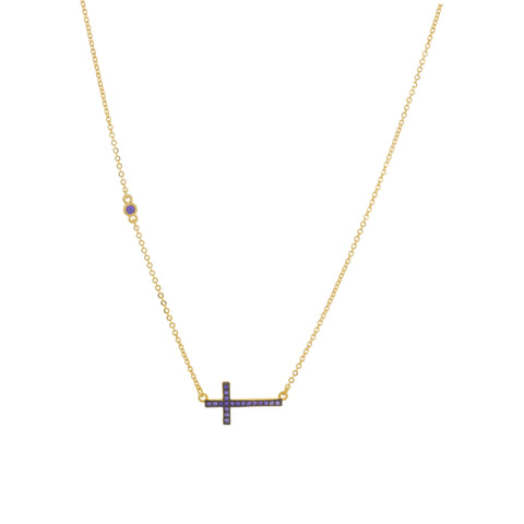 Purple Side Cross Necklace
