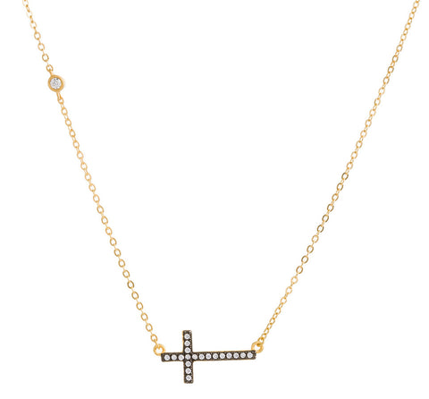 CZ Side Cross Necklace