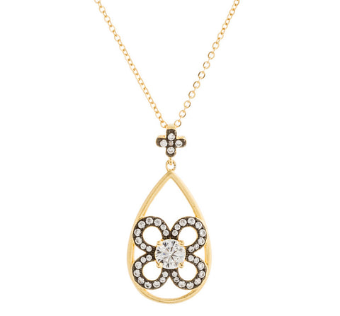 CZ Flower Teardrop Necklace
