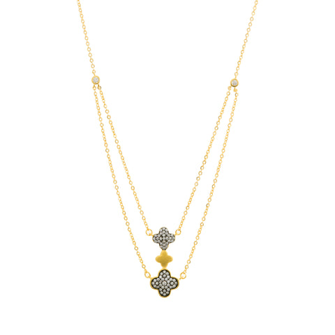 CZ Triple Clover Double Strand Necklace