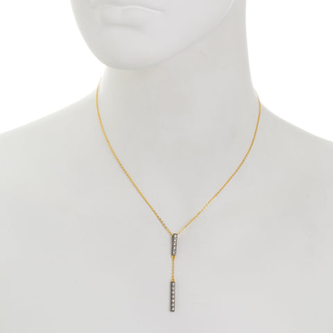 Modern Bezel Double Bar Y-Necklace. Striking Feminine Style with a Twist.