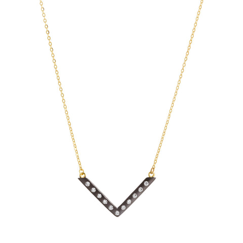 Modern Bezel V Necklace. Evocative Simplicity that will hav you wanting more.