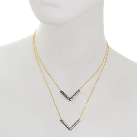 Modern Bezel Double V Necklace. Contemporary Style that will have you Captivated.