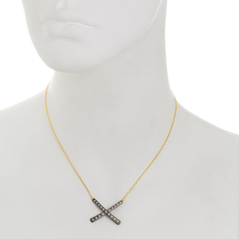 Modern Bezel X Necklace. A Unique Take on an of the Moment Look.