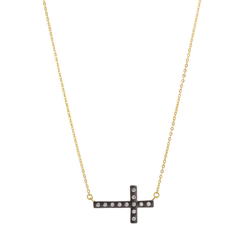 Modern Bezel Sideways Cross Necklace. A Sophisticated Design that will Turn Heads.