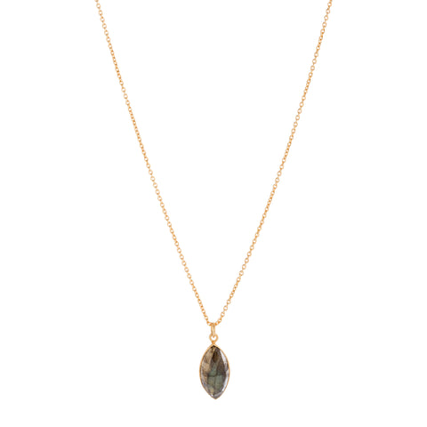 Marquise Labradorite Necklace with Extension