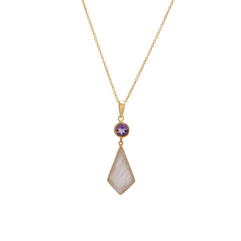 Amethyst / Rose Quartz Round Drop Necklace