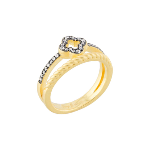 CZ Twisted Detail Clover Flower Double Band Ring