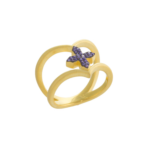 Purple CZ Cross Curved Double Row Ring