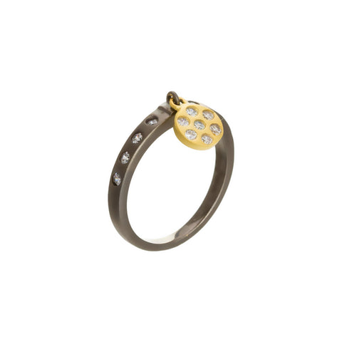 Modern Bezel Disc Drop Ring. Fun and Fresh Delicate Details.