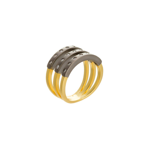 Modern Bezel Triple Bar Ring. Perfectly Polished and Boldly on Trend.